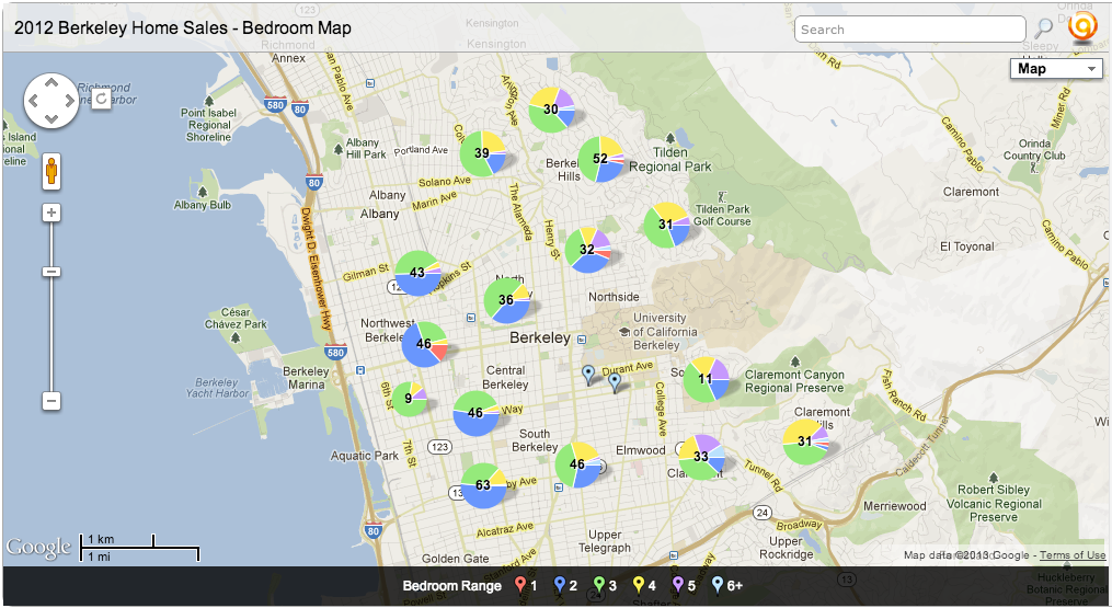 2012 MLS Berkeley Single Family Home Sales Map