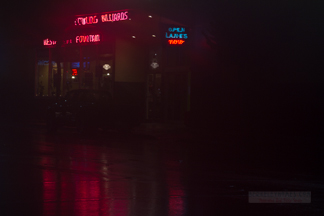 Neon Sign - Night - Albany Bowl in the mist