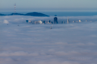 View of San Francisco blanketed by fog