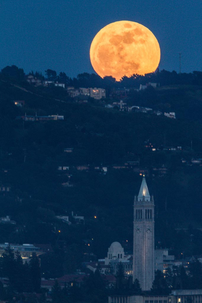 UC Berkeley Sather Tower Campanile Super Moon over Berkeley Hills